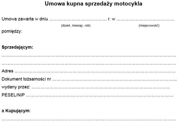 umowa kupna sprzedaży skutera motoru wzór pdf